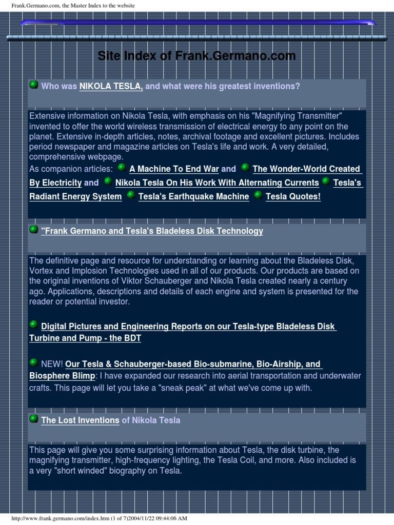 Germano   Tesla   Schauberger   Free Energy   Nikola Tesla ...