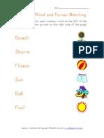 Summer Matching Words