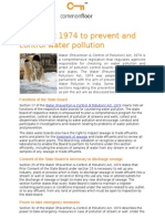 Water Act 1974 to prevent and control water pollution