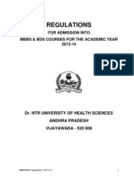 MBBS Admission Regulations 2013-14