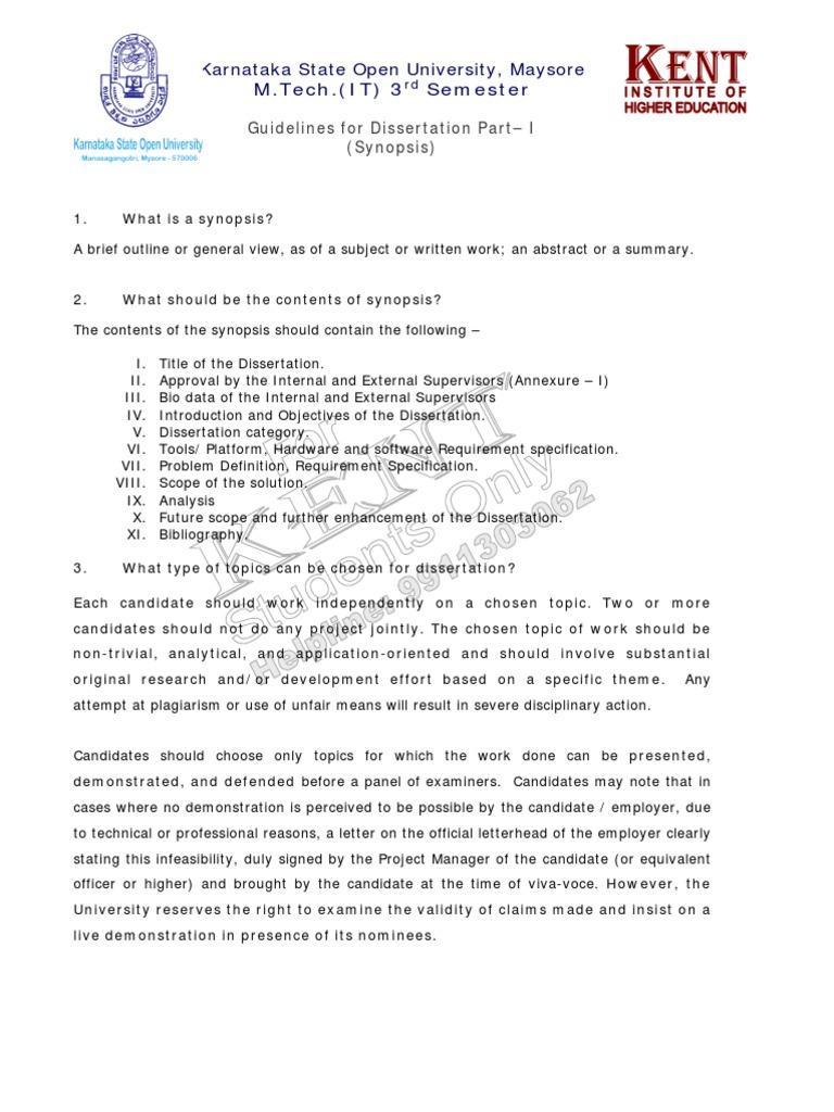 ksou dissertation guidelines for m tech it