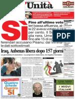 L'Unità prima pagina 2005 06 13
