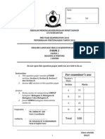 Form 2 English Mid-year 2014 Examination (PT3 Formatted Exam)