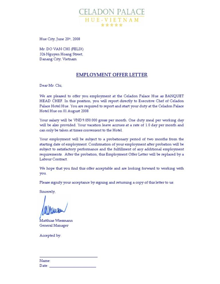 Employee offer letter celadon bandquet head chef do van chi spiritdancerdesigns Gallery