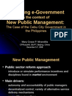 Promoting E-Govt in the Context of New Public Management - Case of Cebu City, Philippines