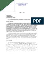 VA letter to President Obama
