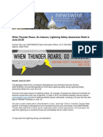 When Thunder Roars, Go Indoors; Lightning Safety Awareness Week is June 22-28