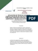 Aplicación de Técnicas Cognitivo Conductual-problemas Familiares