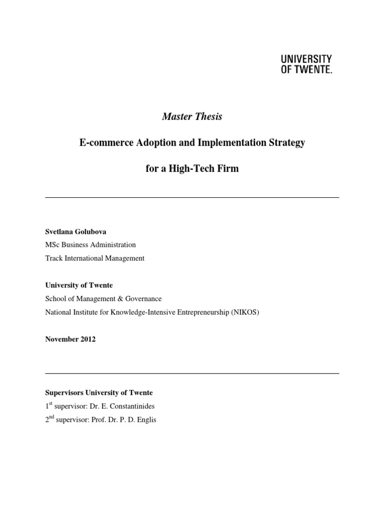 Masters thesis on e commerce