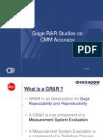 GRR Studies on CMM Accuracy Hex