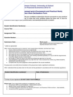 Practical Work Cover Sheet Oxford