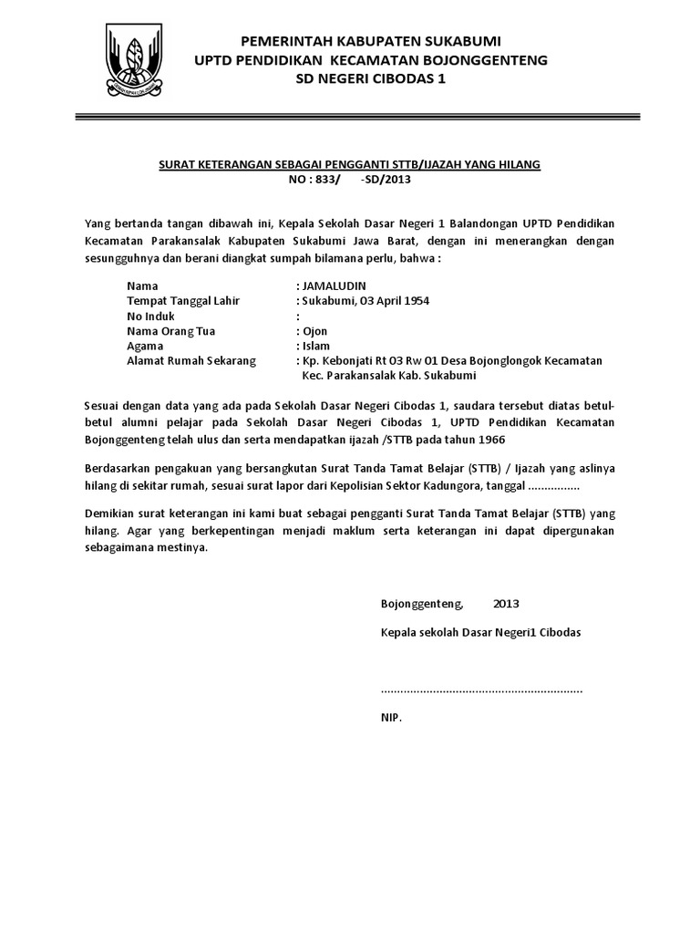 Surat Keterangan Hilang Ijazah P Jamal