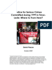 Justice for Serious Crimes Committed during 1999 in Timor-Leste