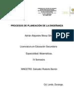Procesos de Planeación de La Enseñanza