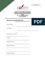 Industrial Supervisor Report Form