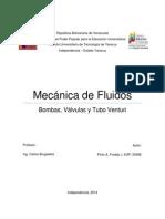 Mecánica de Fluidos - Bombas, Válvulas y Tubo Venturi