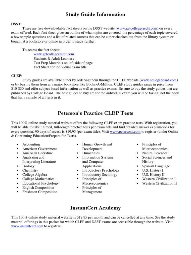 CLEP & DSST Study Guide Info | College Level Examination Program | Test  (Assessment)