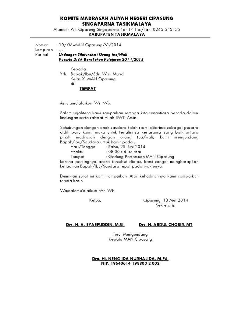 Surat Undangan Rapat Orang Tua/Wali Siswa Baru