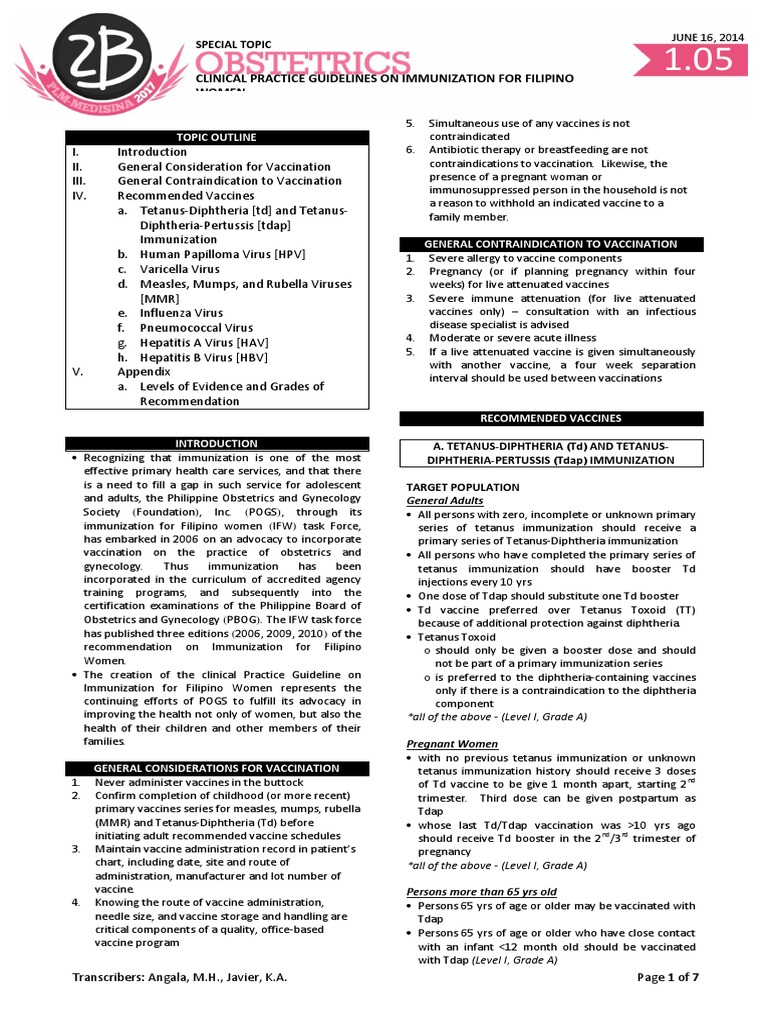 Ob 1.05 Clinical Practice Guidelines on Immunization for