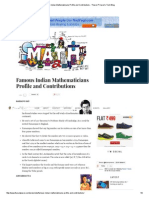 Famous Indian Mathematicians Profile and Contributions - Tharun P Karun's Tech Blog