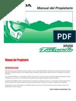 Manual Honda TornadoXR250