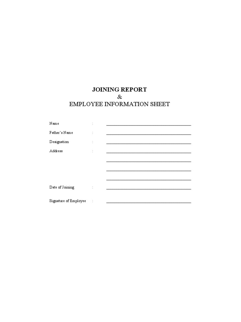 joining report cum employment form employment salary