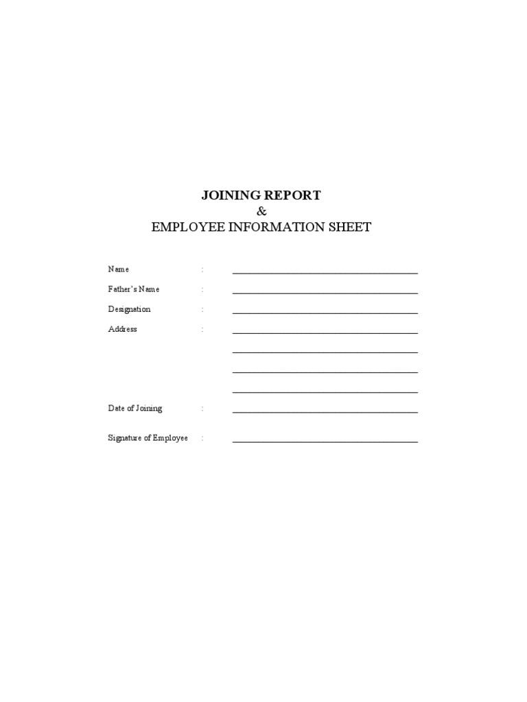 Joining report cum employment form employment salary altavistaventures Image collections