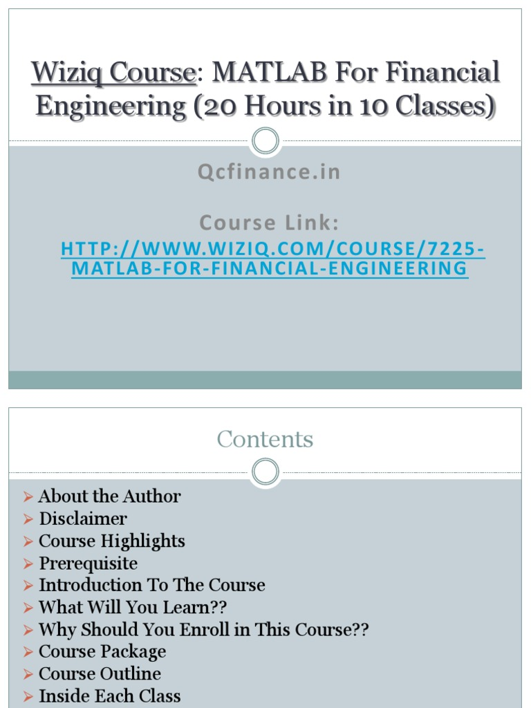 Introduction to the Course Matlab for Financial Engineering | Quantitative  Analyst | Matlab