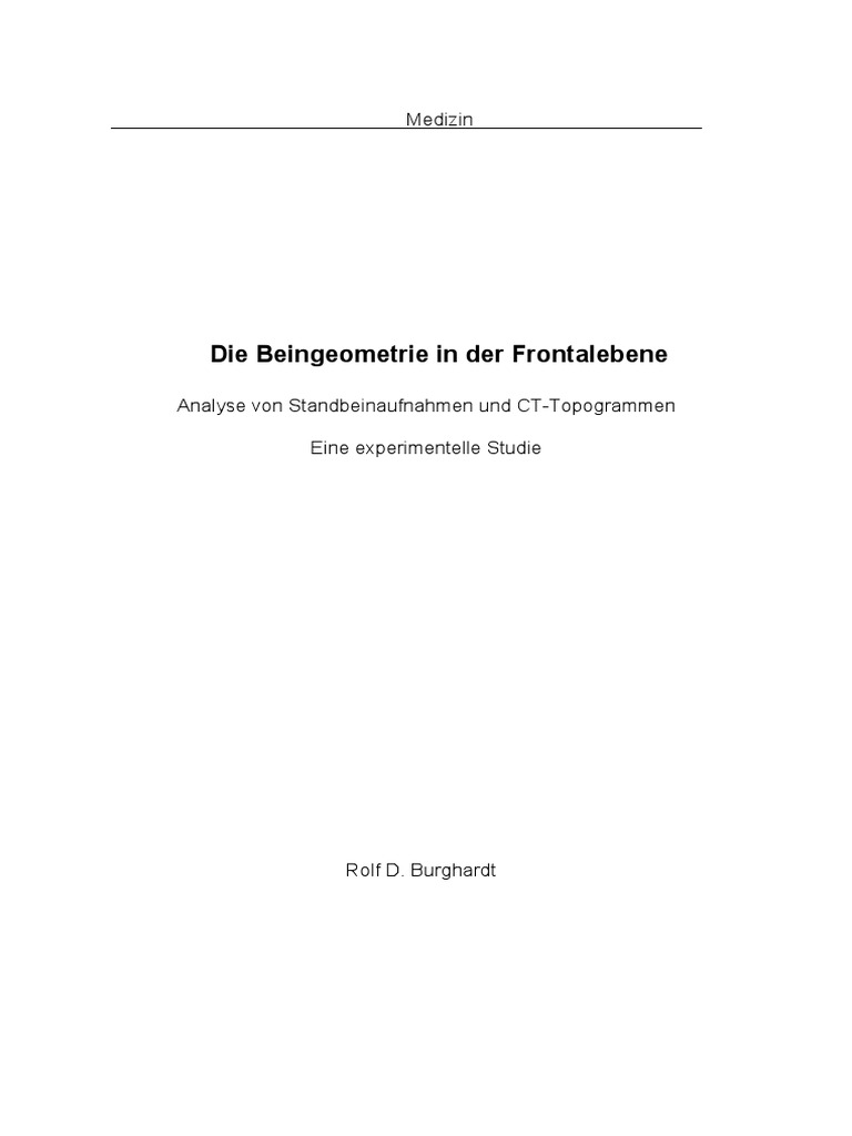 Die Beingeometrie in Der Frontalebene