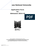 Admission Form BNU