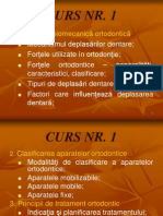Curs 1 - Clasificarea Aparatelor Ortodontice - Notiuni de Biomecanica