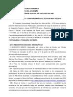 Edital Lingua Portuguesa Ufsj