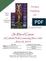 St. Rita Parish Bulletin 6/22/2014