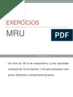 Exercícios de Mru
