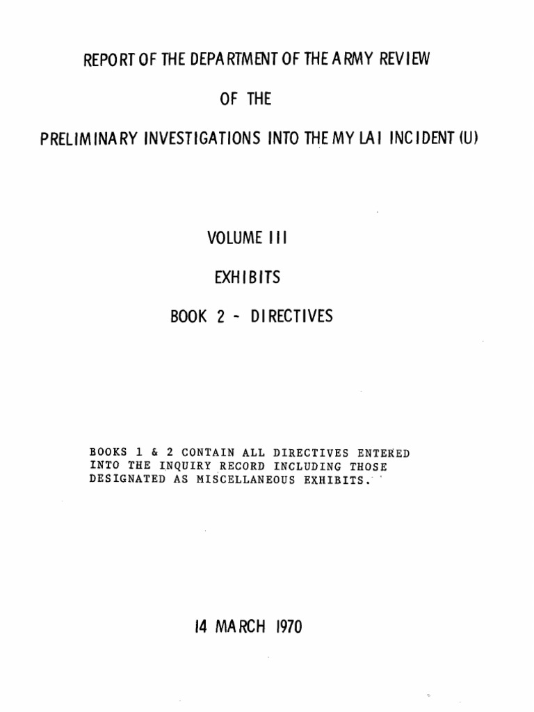 Report of the department of the army review of the preliminary report of the department of the army review of the preliminary investigations into the my lai incident v3 exhibits book2 warfare military organization publicscrutiny Choice Image