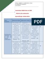 Rubrica Herramientas Didacticas en AVA T.colaborativoOOOKKK