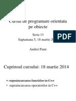 Curs 5 - Supraincarcarea operatorilor in C++