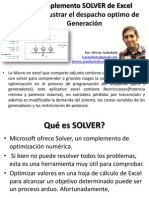 Despacho Optimo de Generación Con Solver