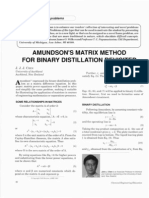 Amundson's Matrix Method for Binary Distillation Revisited