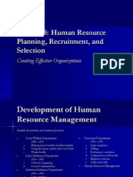Human resources recruitment planning and selection