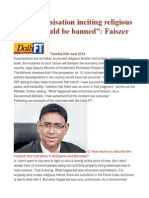 """""""Any Organisation Inciting Religious Hatred Should Be Banned"""" Faiszer"""