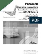 Panasonic Kx Fp343hk Operating Manual