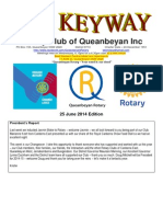 The Keyway - 25 June 2014 Edition - weekly newsletter for Queanbeyan Rotary