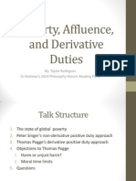 Poverty, Affluence and Derivative Duties