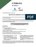 Sociesc 2010 Companhia Aguas de Joinville Analista de Compras e Licitacoes Prova