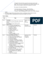 Sample Course Outline - Money, Credit and Banking