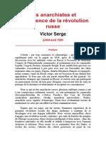 V. Serge - Les Anarchistes Et l'Expérience de La Révolution Russe