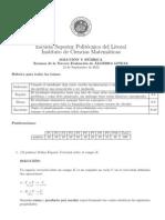 Examen de la Tercera Evaluacion de ´ALGEBRA LINEAL
