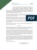 Nombramiento Definitivo de Los Directores Provisionales Que Han Superado El Programa de Formación. Orden de 25 de Febrero de 2013