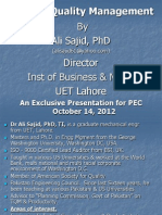 TQM Lecture by Dr Ali Sajid